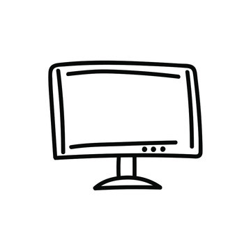 computer monitor or tv simple vector icon. sketch illustration isolated on white background