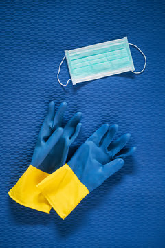Rubber gloves and mask
