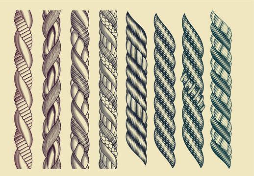 Set of 8 Vintage Rope Style Brushes Art Kit