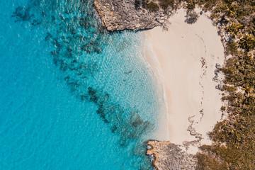 Caribbean, Bahamas, Exuma, Drone view of Pretty Molly Beach Fotobehang