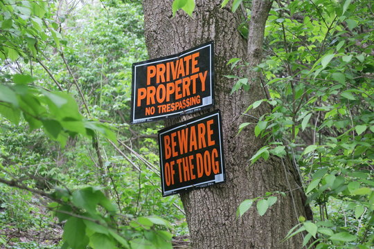 Private Property and Beware Of Dog Signs On Tree