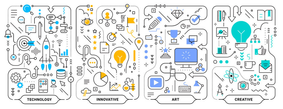 Vector creative set of business concept horizontal illustration on white background. Innovate technology business process template.