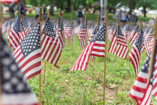 American flags on grass lawn and blurry people background on Memorial Day celebration