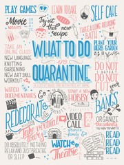 What to do in quarantine, typography hand lettering poster design, blue and pink. List of activities at home, flat vector illustration