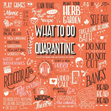What to do in quarantine, typography hand lettering poster design, red and brown. List of activities at home, flat vector illustration