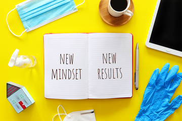 top view image of table with open notebook and the text new mindset new results. success and...