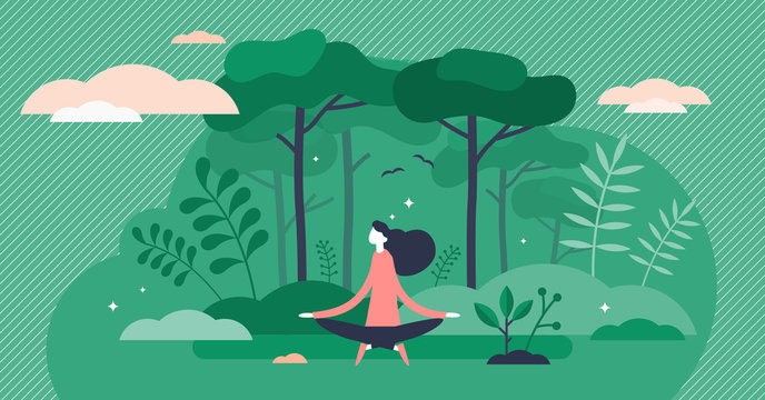 Forest bathing vector illustration. Nature therapy flat tiny person concept