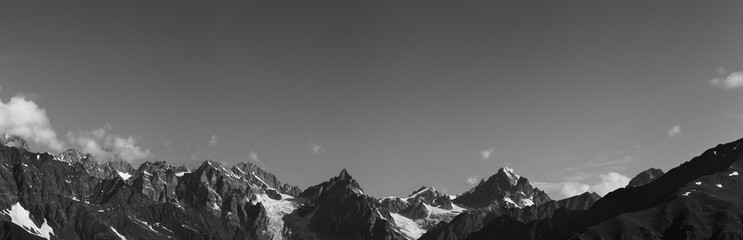 Fototapete - Panorama of high rocky mountains with glacier