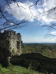 Fototapeta zamek, ruina, stary, wieza, kamienie, architektura, średniowiecznej, antyczny, niebo, krajobraz, historia, forteca, budowa, ruina, mur, opoka, gras, charakter, podróż, góra, europa, fort, górka, ziele obraz