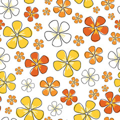 Sunny Floral, seamless Vector repeat pattern ditsy print on white background surface design