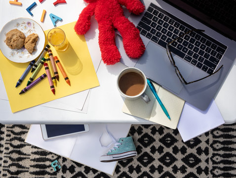 Work from home - Work from home with kids - Parent working from home - Top View - Flat Lay