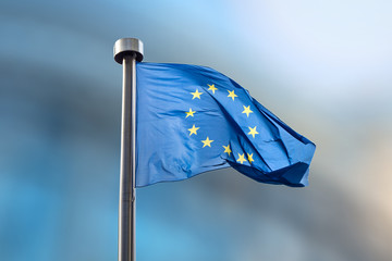 Wall Mural - European Union flag on a blurred background.