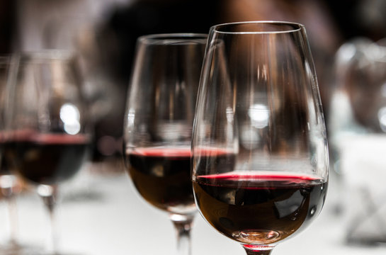 Close up of wine glasses with red wine in the tasting room