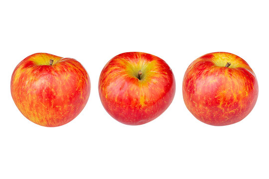 yellow-red apple in three angles on a white background in png format for your design or create advertising