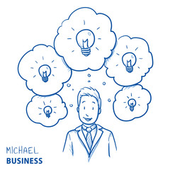 Happy modern business man, with lots of ideas in thought bubbles, concept for ideas, innovation, creativity. Hand drawn line art cartoon vector illustration.