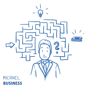 Unhappy modern business man, with maze and icons. Concept for confusion, irritation, clueless, lost. Hand drawn line art cartoon vector illustration.