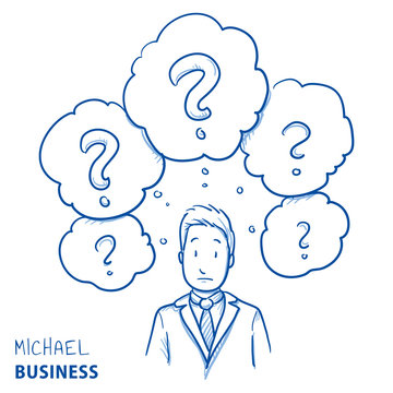 Unhappy modern business man, with lots of question marks in thought bubbles, concept for confusion, irritation, clue less. Hand drawn line art cartoon vector illustration.