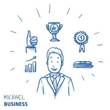 Happy modern business man, with success and winners icons, concept for leader, best employee. Hand drawn line art cartoon vector illustration.