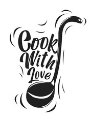 Custom vertical slats for kitchen with your photo Vector kitchen illustration of a ladle with the words Cook with love. Vintage hand-drawn poster for decoration. Cooking concept.