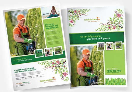 Garden Service Poster Layout with Leaf Illustrations