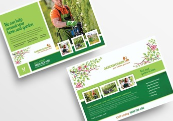 Gardening Flyer Layout with Watercolor Foliage