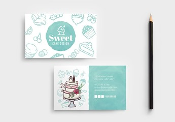 Cake Shop Business Card Layout