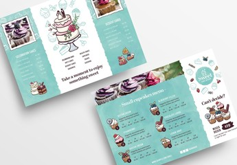 Cake Baker Flyer Layout with Cupcake Illustrations
