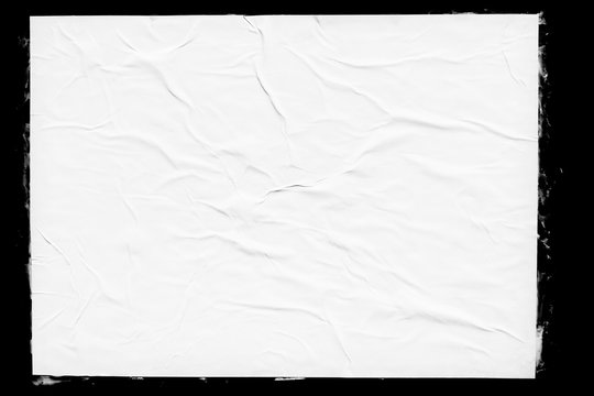 White paper poster mockup isolated on black background. Blank glued creased paper sheet texture