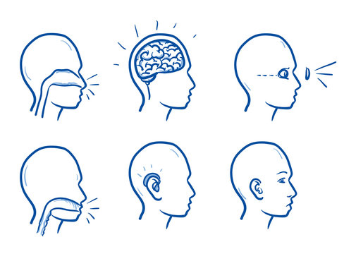 Set of several icons of the human head with different focuses on disorders, for medical info graphics. Hand drawn line art cartoon vector illustration.
