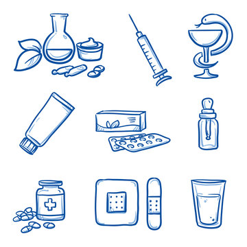 Set of different medical icons, various drugs and medications. Hand drawn line art cartoon vector illustration.