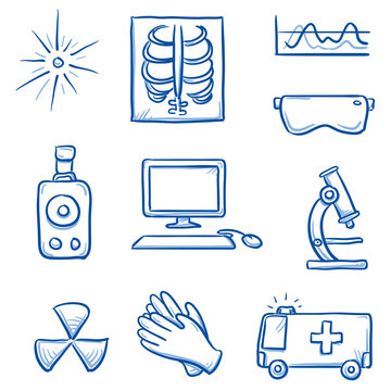 Set of different medical radiation and x-ray icons, for info graphics. Hand drawn line art cartoon vector illustration.