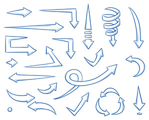 Set of different straight and curved arrows for work flow charts, video clips or info graphics. Hand drawn doodle cartoon vector illustration.