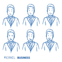 Business man in different emotional head shots, symbolizing happy, sad, angry, depressed. Hand drawn line art cartoon vector illustration.