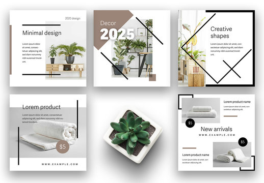 Abstract Social Media Kit Layout Set with Black Line Elements
