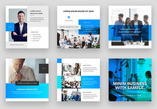 Social Media Layout Set with Bright Blue Accents