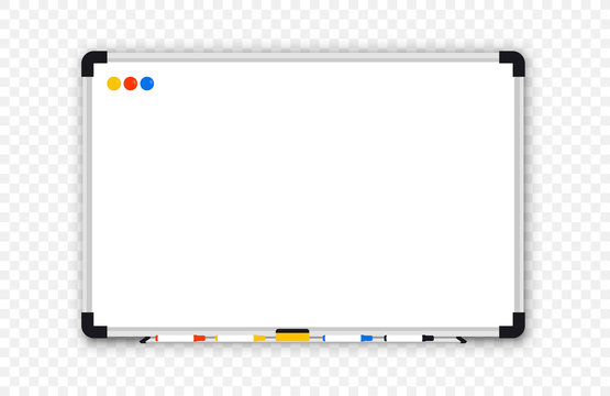 Whiteboard. Realistic Empty office white marker board. Whiteboard with marker pens and a sponge. Mock-up office white blackboard. Office Whiteboard template