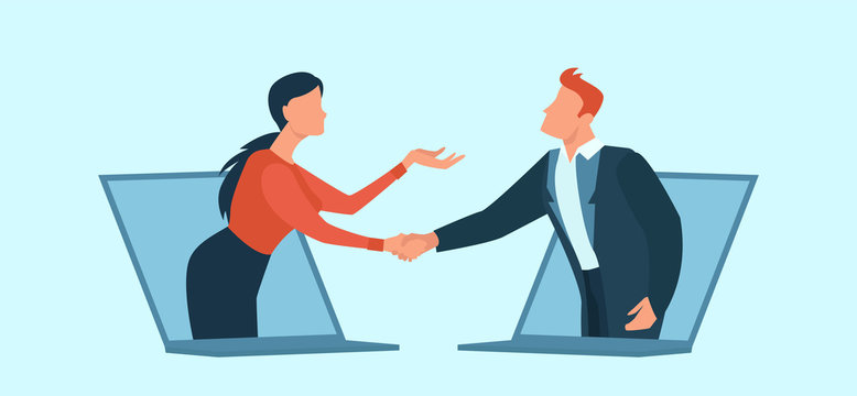 Vector of a businessman and business woman communicating online having agreement and shaking hands.