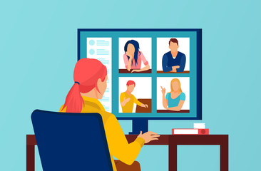 Fototapeta Vector of a group of people having a video conference call obraz