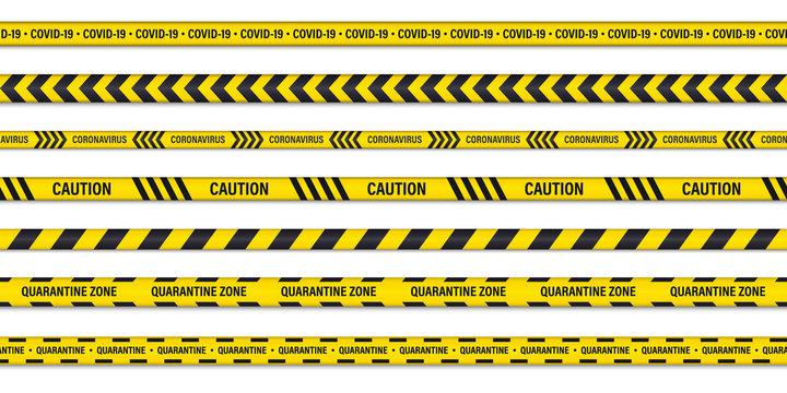 Set of danger or warning caution seamless tapes. Quarantine caution tape. Coronavirus danger stripe. Covid-19 danger, attention tape. Novel coronavirus outbreak, global lockdown, Biohazard