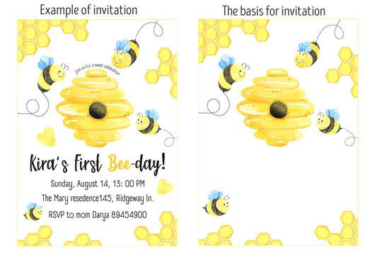 Пчелы пригласительный день рождение, детский душ
