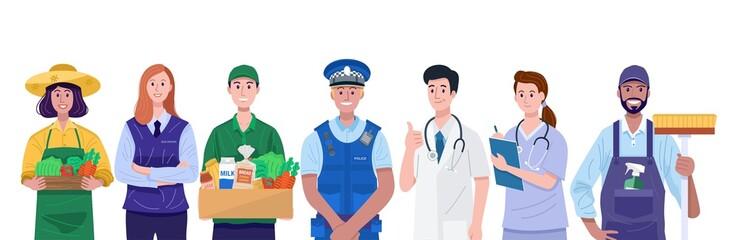 Essential workers, Various occupations people. Vector