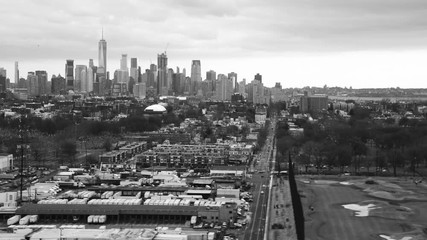Wall Mural - New York City aerial view from helicopter in slow motion. City skyline from Jersey City
