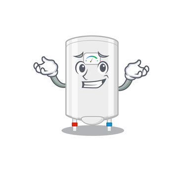 A picture of grinning gas water heater cartoon design concept