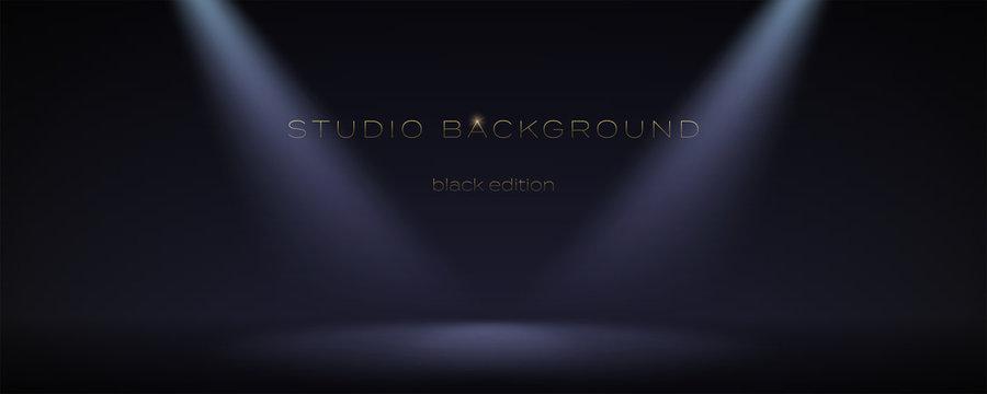 Black empty room illuminate two spotlights. Soft gradient. Dark studio can used for background and display brand or product. Black edition. Vector 3d illustration