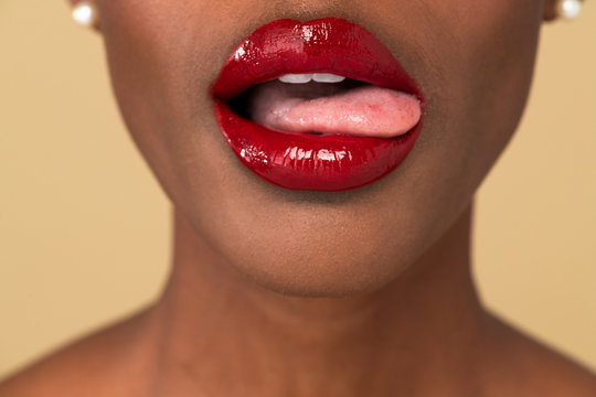 Black woman sticking her tongue out