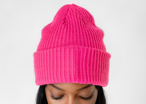 Black woman wearing a hot pink beanie mockup