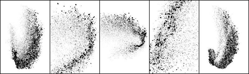 Fototapeta Set of explosion black grainy texture isolated on white background. Dust overlay textured. Dark noise particles. Grunge design elements. Vector illustration, Eps 10. obraz