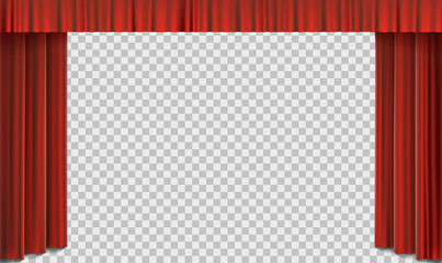 Red cinema curtain on stage. Vector template