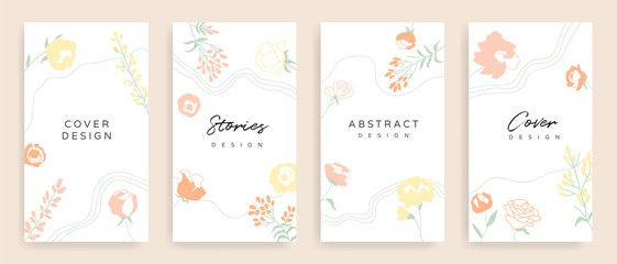 Fotobehang - Social media stories and post cover design vector set. Background template with copy space for text and images design by abstract coloured shapes, line arts and floral.