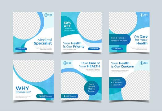 Medical health square banner for social media post template